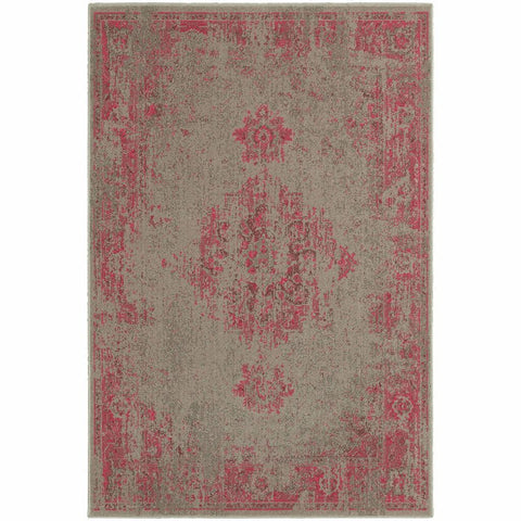 Oriental Weavers Revival Grey Pink Oriental Overdyed Traditional Rug
