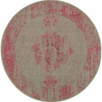 Woven - Revival Grey Pink Oriental Overdyed Traditional Rug