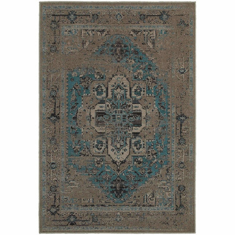 Oriental Weavers Revival Grey Teal Oriental Overdyed Traditional Rug