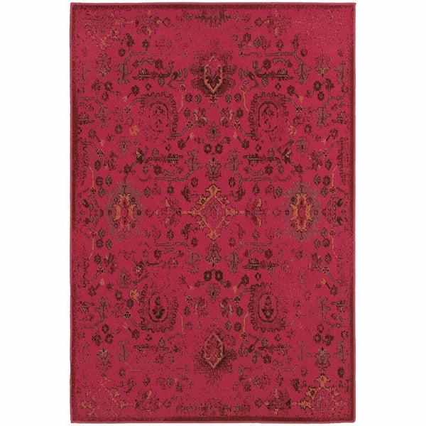 Revival Pink Charcoal Oriental Overdyed Traditional Rug - Free Shipping