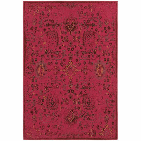 Oriental Weavers Revival Pink Charcoal Oriental Overdyed Traditional Rug