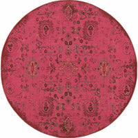 Woven - Revival Pink Charcoal Oriental Overdyed Traditional Rug