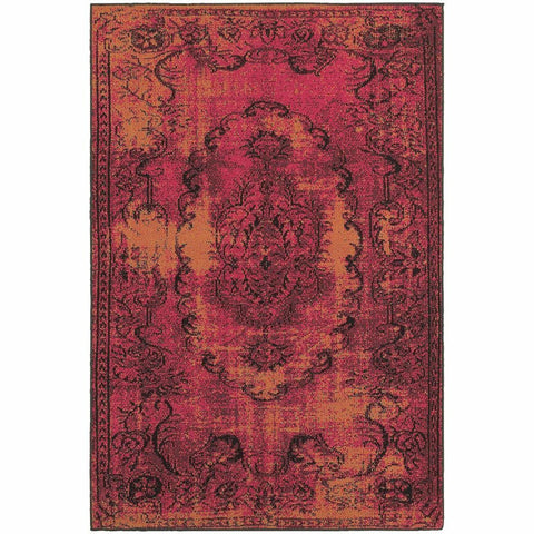 Oriental Weavers Revival Pink Yellow Oriental Overdyed Traditional Rug