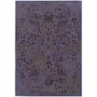 Revival Purple Beige Oriental Overdyed Transitional Rug - Free Shipping
