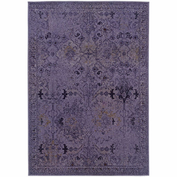 Revival Purple Grey Oriental Overdyed Transitional Rug - Free Shipping