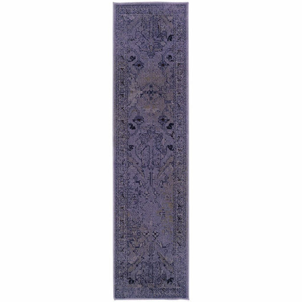 Woven - Revival Purple Grey Oriental Overdyed Transitional Rug