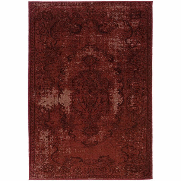 Revival Red Black Oriental Overdyed Transitional Rug - Free Shipping