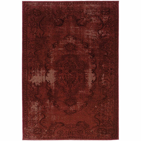 Oriental Weavers Revival Red Black Oriental Overdyed Transitional Rug