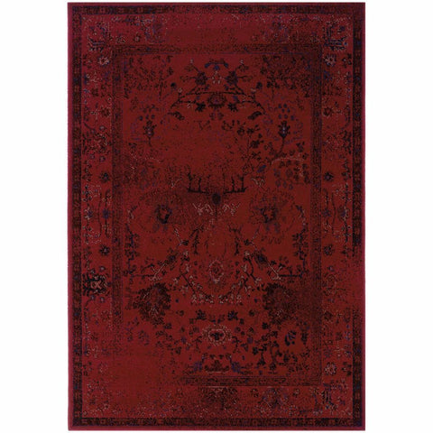 Oriental Weavers Revival Red Grey Oriental Overdyed Transitional Rug