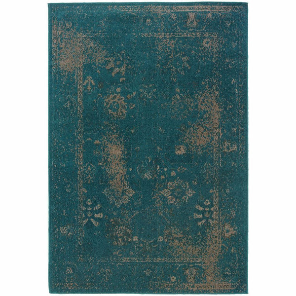 Revival Teal Beige Oriental Overdyed Transitional Rug - Free Shipping