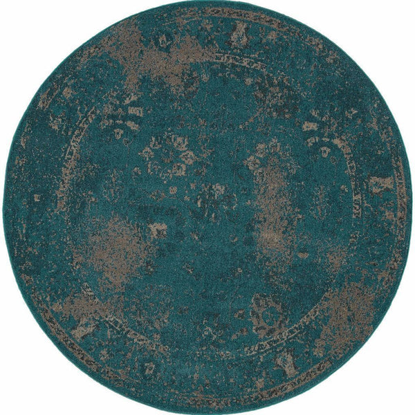 Woven - Revival Teal Beige Oriental Overdyed Transitional Rug