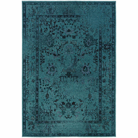 Revival Teal Grey Oriental Overdyed Transitional Rug