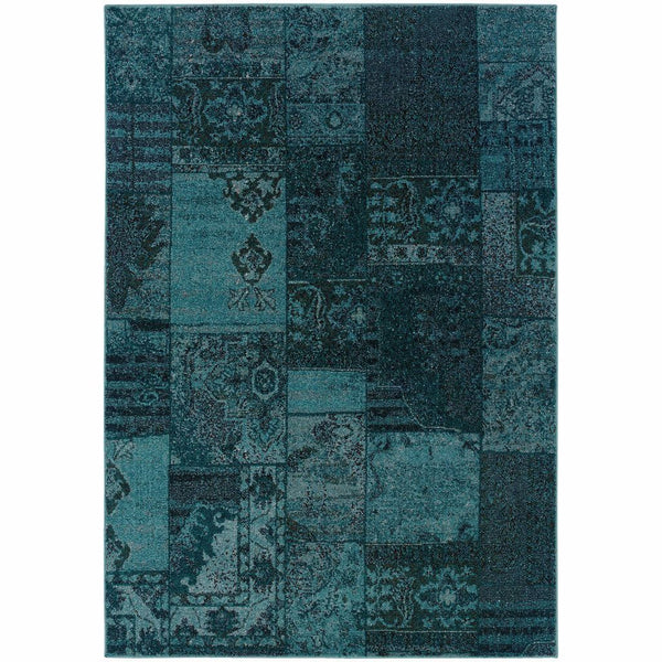 Revival Teal Grey Oriental Overdyed Transitional Rug - Free Shipping