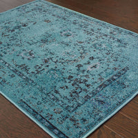 Woven - Revival Teal Grey Oriental Overdyed Transitional Rug
