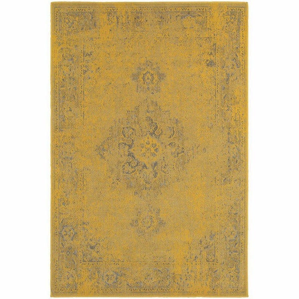 Revival Yellow Grey Oriental Overdyed Traditional Rug - Free Shipping