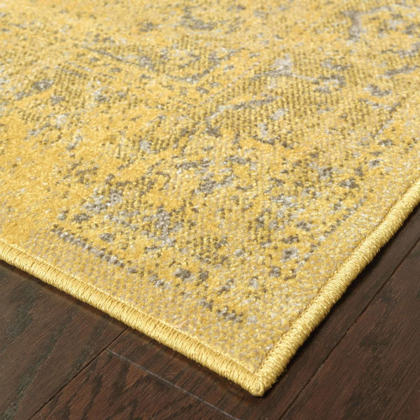 Woven - Revival Yellow Grey Oriental Overdyed Traditional Rug