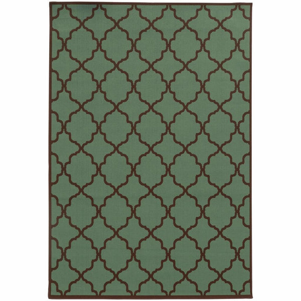 Riviera Blue Brown Geometric Lattice Outdoor Rug - Free Shipping