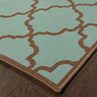 Woven - Riviera Blue Brown Geometric Lattice Outdoor Rug