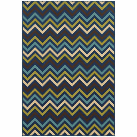 Oriental Weavers Riviera Blue Green Geometric Chevron Outdoor Rug