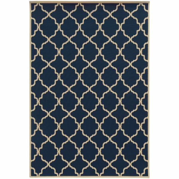 Riviera Blue Ivory Geometric Lattice Outdoor Rug - Free Shipping