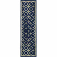 Woven - Riviera Blue Ivory Geometric Lattice Outdoor Rug