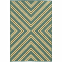 Riviera Blue Ivory Geometric  Outdoor Rug - Free Shipping