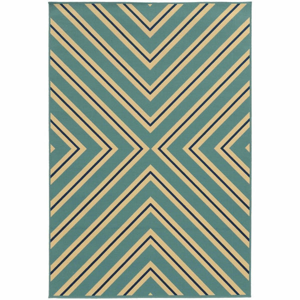 Oriental Weavers Riviera Blue Ivory Geometric  Outdoor Rug