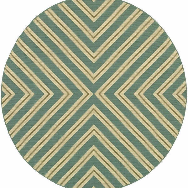 Woven - Riviera Blue Ivory Geometric  Outdoor Rug