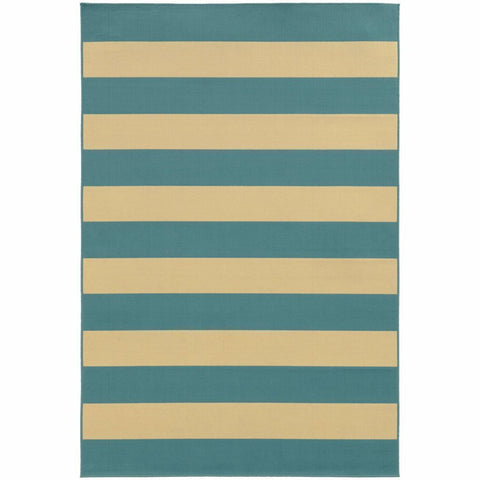 Oriental Weavers Riviera Blue Ivory Geometric Stripe Outdoor Rug