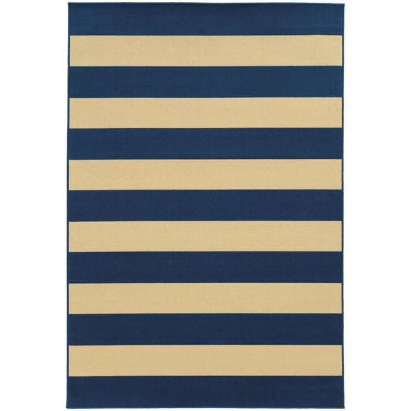 Riviera Blue Ivory Geometric Stripe Outdoor Rug