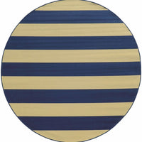 Woven - Riviera Blue Ivory Geometric Stripe Outdoor Rug