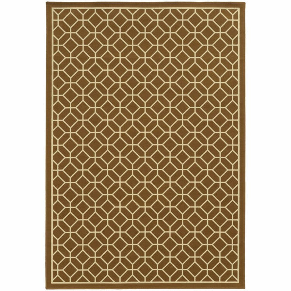 Riviera Brown Ivory Geometric Lattice Outdoor Rug - Free Shipping