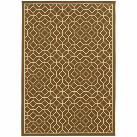 Oriental Weavers Riviera Brown Ivory Geometric Lattice Outdoor Rug