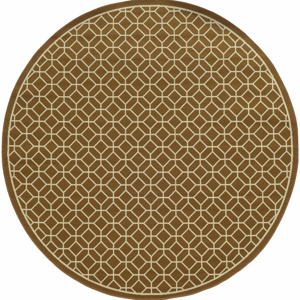 Woven - Riviera Brown Ivory Geometric Lattice Outdoor Rug