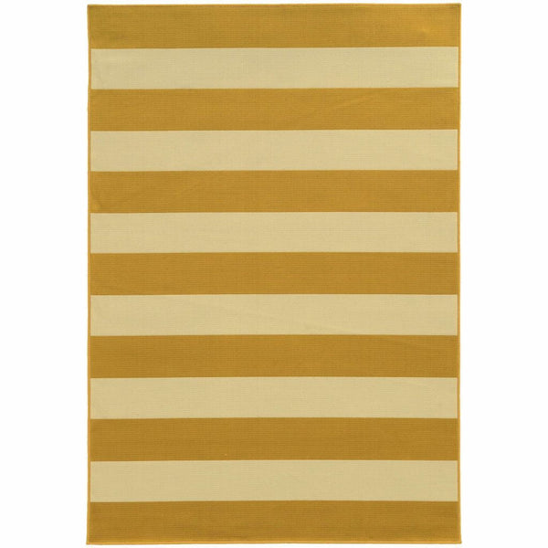 Riviera Gold Ivory Geometric Stripe Outdoor Rug - Free Shipping