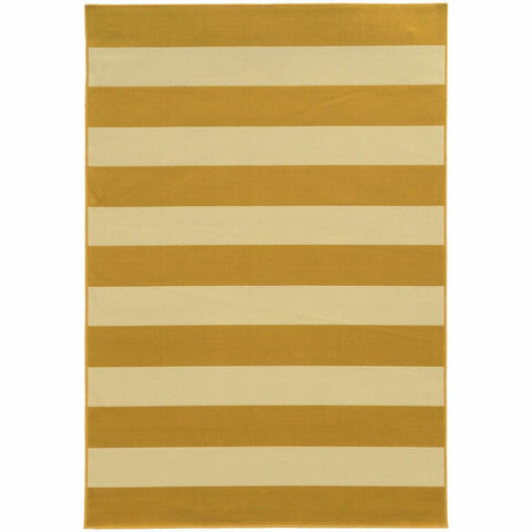 Oriental Weavers Riviera Gold Ivory Geometric Stripe Outdoor Rug