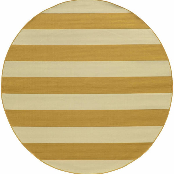 Woven - Riviera Gold Ivory Geometric Stripe Outdoor Rug