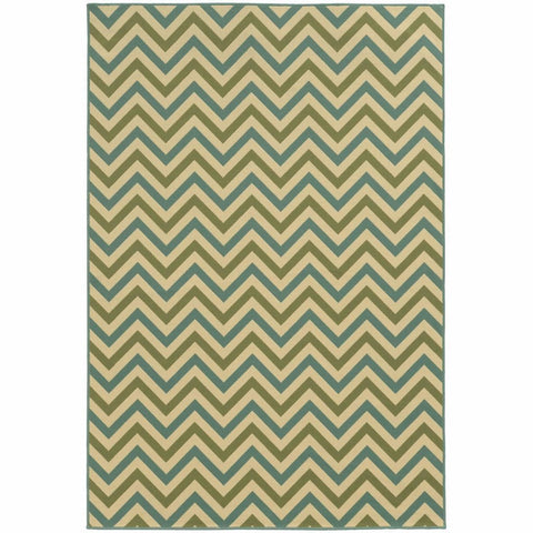 Oriental Weavers Riviera Green Blue Geometric Chevron Outdoor Rug
