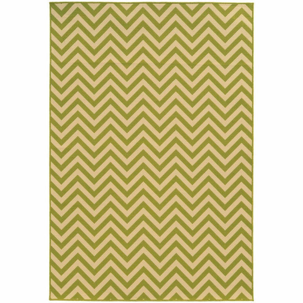 Riviera Green Ivory Geometric Chevron Outdoor Rug