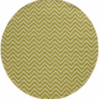 Woven - Riviera Green Ivory Geometric Chevron Outdoor Rug