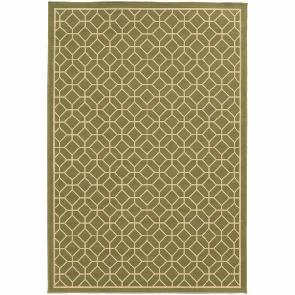 Riviera Green Ivory Geometric Lattice Outdoor Rug