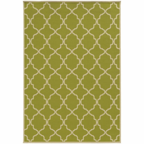 Oriental Weavers Riviera Green Ivory Geometric Lattice Outdoor Rug