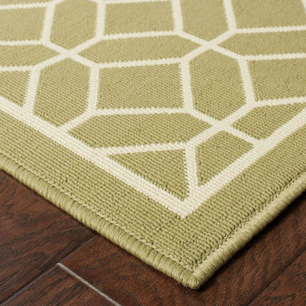 Woven - Riviera Green Ivory Geometric Lattice Outdoor Rug
