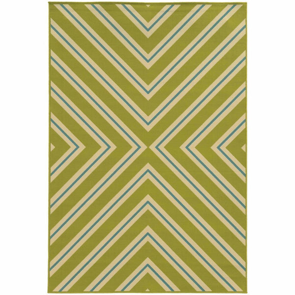 Riviera Green Ivory Geometric  Outdoor Rug - Free Shipping