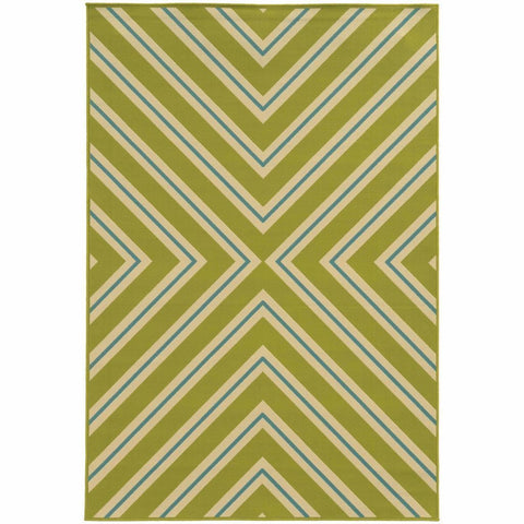 Oriental Weavers Riviera Green Ivory Geometric  Outdoor Rug