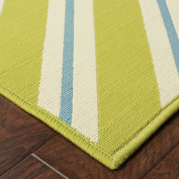 Woven - Riviera Green Ivory Geometric  Outdoor Rug