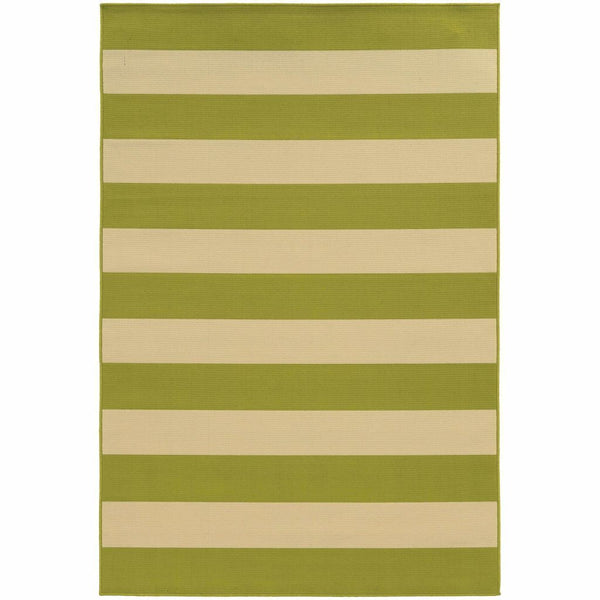 Riviera Green Ivory Geometric Stripe Outdoor Rug - Free Shipping