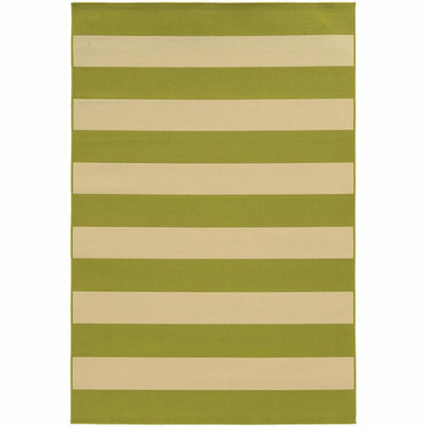 Oriental Weavers Riviera Green Ivory Geometric Stripe Outdoor Rug