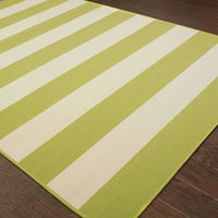 Woven - Riviera Green Ivory Geometric Stripe Outdoor Rug