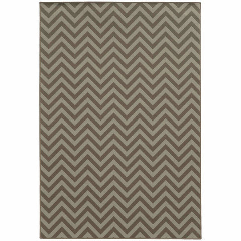 Oriental Weavers Riviera Grey Blue Geometric Chevron Outdoor Rug